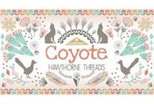 Coyote / Fabric by the yard with sewing and decorating inspiration. DIY. Sewing. Arrows. Feathers. Roadrunner. Cactus. Desert. Modern southwest decor