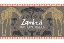 Zambezi / Fabric by the yard with sewing and decorating inspiration. DIY. Africa. Sewing. Wildebeest. Giraffe. Rhino. Ostrich. Wild. Safari decor