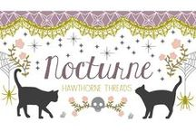Nocturne / Inspiration for our fabric collection Nocturne, featuring black cats, spiderwebs and skeletons, perfect for Halloween sewing.