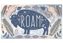 Roam / Fabric by the yard with sewing and decorating inspiration. DIY. The plains. Sewing. Bison. Feathers.