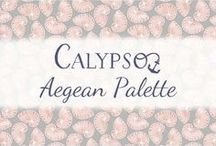 Calypso - Aegean Palette / Coral Peach and Gray Color Story