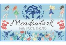 Meadowlark / Fabric by the yard with sewing and decorating inspiration. DIY. Childhood. Tire swing. Birds. Outdoors. Meadows. Daisy Crowns. Oak Trees.