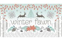 Winter Fawn / Fabric by the yard with sewing and decorating inspiration. DIY. Winter. Sewing. Deer. Trees. Holiday decor