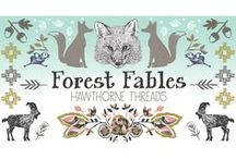 Forest Fables / Fabric by the yard with sewing and decorating inspiration. DIY. Chicken Little. Three Billy Goats Gruff. Sewing. Fables. Folk Tales.