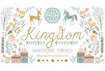 Kingdom / Fabric by the yard with sewing and decorating inspiration. DIY. 12 Dancing Princesses. Deer. Florals. Unicorn. Swans. Fairytales. Woodland. Children's.