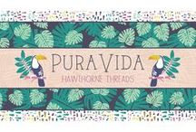 Pura Vida / Pura Vida is a colorful collection that captures the bright spirit of the friendly country of Costa Rica, with designs both the young and young at heart will love.