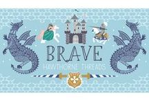 Brave / Put your Brave face on! We invite you to travel to a medieval kingdom where gallant knights and intrepid girls battle fearsome dragons that would put ol' Smaug to shame. His and hers color stories make for a fun option for sibling nursery decor. Each of the two overlapping palettes include a faux patchwork design that sews up quickly into a wholecloth quilt, as well as a fun selection of project panels and larger scale Quilt Panels.