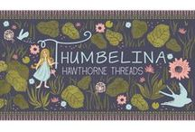 Thumbelina / Meet Thumbelina! This storied yet sophisticated group captures the adventures of a girl who proves that courage lies in us all, no matter how small. Natural pinks and blues accented with bright spring greens paint a lush backdrop, with hints of watercolor bringing the pond scenes to life. A fittingly bite sized fabric collection, Thumbelina consists of just 13 prints plus a Faux Patchwork design, as well as a Project Panel.