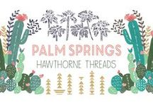 Palm Springs / Nestled in the Coachella Valley area lies the oasis that is Palm Springs, a mecca for modern fashion and good vibes for over half a century. With its hardy critters, painterly vistas, Sonoran succulents and towering palms, our newest fabric line celebrates Southern California style. Told in two color stories, each with double border and panel options, these sun-kissed prints will lend a laid back vibe to any project.