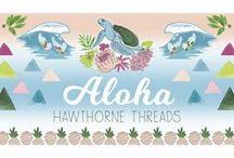 "Aloha / Say ""Aloha"" to our newest In House designed and printed fabric collection! If you're lucky enough to have traveled to this Pacific paradise, then you'll know that this catch all phrase is as layered as the shades of green in these garden isles. Literally ""presence of breath,'"" Aloha's myriad meanings include hello, goodbye, peace, love, kindness and respect. In Hawaii, people live life in the spirit of Aloha, and we hope this group of cheerful tropical prints brings a smile."