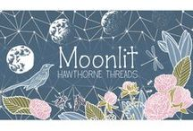 Moonlit / Designed & printed right here at Hawthorne Threads, our Moonlit collection is a wistful group of nature inspired fabrics, resplendent in a moody palette of aspen, carnation pink, jungle green, pebble gray & twilight blue. Enjoy a wistful walk through a Moonlit garden, luminous in the starlight & alive with the creatures of the night. Moonlit also features a Faux Patchwork design, & a Project Panel as well as a beautiful Single Border design in Ink & Pebble, perfect for curtains, apparel & more.