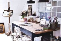 Home Office / Studio / Inspiration for creating a home office/art studio in a small space. Ideas for organizing all the clutter, and little details to make a space that inspires creativity.