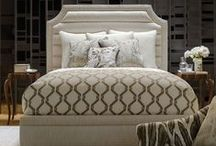 Custom Upholstered Beds / Robert Allen presents a dreamy line of upholstered beds that will wake up a room's possibilities. The collection includes seven styles of beds with designs ranging from a modern riff on a classic Greek motif to a sensuous, curved design. Customization includes nailheads, square or diamond tufting, channel or box quilting and a host of other options. Offering superior craftsmanship to retail pieces, this easy-to-use program provides custom solutions for a busy designer. / by Robert Allen Design