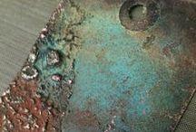 patina, enamel, etching  / designing the metal surface with patina, etching, enamel .....