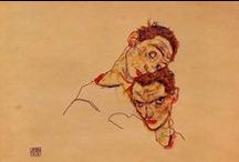 *Egon Schiele* / You can immediately recognize his drawing. Enough for the separate board, isn't it ? If only he lived longer than 28 years ....