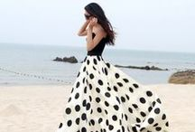 Seeing Spots - Retro Polka Dot Dresses / Style board dedicated to all polka dot fashion! Polka dot short dresses. Polka dot prom dresses. Black and white. Pageant dresses. Evening dresses. Two piece dresses.