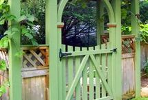 Garden Structures and Decor / I love to decorate my garden rooms as much as the rooms in the house. I am always looking for something to hand from a branch or stick in a garden corner.