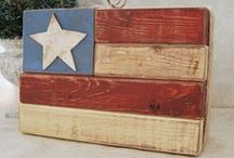 Americana / Our American heritage, Flags and Red, White and Blue decor / by Linda Smith
