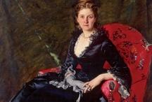 1870's black satin gown