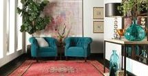 Boho Interiors Grown-Up / Sophisticated boho homes are some of our favorites. Get inspired by cool blues and vintage flair. Sleek wood furniture. Boho home designs with a west elm twist.