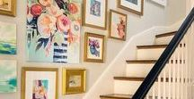 Gallery Walls / Gallery Walls can be tricky to get right! Start with a large piece as the anchor, followed by various smaller works. Heck, why not try something really out of the box and expand your gallery wall onto your lamps and pillows.