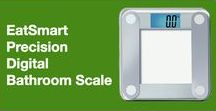 """Precision Digital Bathroom Scale / The EatSmart Precision Digital Bathroom Scale is versatile, easy to use and great for any home. Simply step on the scale and in seconds you'll have an accurate readout on the EatSmart's oversized 3.5"""" LCD display. Its modern, sleek design of tempered glass compliments any surrounding and weighs up to 400 lbs.   With over 7,000 reviews on Amazon.com, you can't go wrong with this scale!"""
