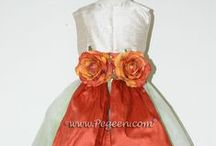 Orange Flower Girl Dresses / Orange flower girl dresses by Pegeen.com - Orange, mango, pumpkin, squash, autumn, coral rose, fire, melon, mountain fall, nectar, peach, raisin, salmon flame, spice, sunset, tangerine, silk flower girl dresses. Pegeen.com is a manufacturer of flower girl dresses & boys suits - Infants to Plus Size. 200+ colors in Silk. Headquartered in Orlando FL .. 1 mile from Disney!! 407.928.2377
