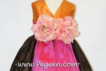 Brown flower girl dresses / Chocolate Brown flower girls, flower girl dresses and little girls flower girl dresses - Pegeen flower girl dresses, custom Chocolate flower girl dresses, couture silk flower girl dresses in Chocolate, chocolate brown, ginger, oak, semi-sweet, mocha,taupe, sable, wolf, sable, summer tan, toffee, just about any color brown for your flower girl. Pegeen.com is a manufacturer of flower girl dresses- Headquartered in Orlando FL .. located 1 mile from Disney!! 407.928.2377
