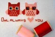 CROSS STITCING PATTERNS / patterns for cross stitching, so much.. should sort them out, but time... ;) but favourite: owls, thee and cups, cupcakes, sewing things..
