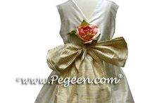 Gold Flower Girl Dresses / Flower girl dresses from infants thru plus size in gold, amber, topaz, toffee, champagne, ivory, gold, pure gold, spun gold, wheat, by pegeen.com