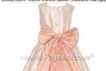 Peach Flower Girl Dresses / Peach flower girls, flower girl dresses and little girls flower girl dresses - Pegeen flower girl dresses, custom peach flower girl dresses, couture silk flower girl dresses in peach, nectar, salmon flame, coral,  just about any color peach for your flower girl. Pegeen.com is a manufacturer of flower girl dresses & boys suits - Infants to Plus Size. 200+ colors in Silk. Headquartered in Orlando FL .. 1 mile from Disney!! 407.928.2377
