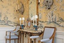 Beautiful Chinoiserie / Chinoiserie is a fusion of the East and West.  The use of Chinese motifs and techniques in Western art, furniture, interior decor, wallpaper and architecture, esp. in the 18th century.