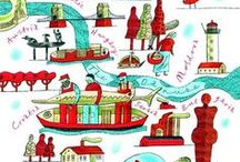 Around the Globe / A board about books and places that uses interactive mapping to connect the two. Perfect for travellers, and armchair travellers!