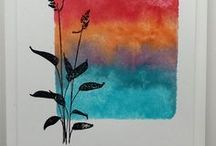 Method:Ink on Block - Cards* / Handmade cards & techniques using ink applied to an acrylic block. Ink the block with markers or ink pads, spritz with water, and stamp! The technique is easy & quick and makes great backgrounds.