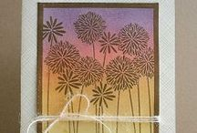 """Stamp:Flower Medley / These handmade cards feature the negative stamp """"Flower Medley"""" by Hero Arts (K5361)."""