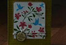 """Stamp:Flower Bird Garden / These handmade cards feature the negative stamp """"Flower Bird Garden"""" by Hero Arts (CG270)."""