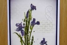 """Stamp:Irises* / These handmade cards feature the stamp """"Irises"""" by Penny Black."""