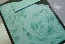 "EF: Manhattan Flower* / Handmade cards featuring the Stampin' Up/Sizzix ""Manhattan Flower"" embossing folder."