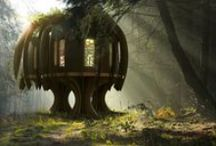 Fantasy home thoughts... / A woodland tree home designed around an elven theme.  Artistic or fantasy styled images that evoke a sense of majesty in a natural woodland feel.  Tolkien movies and other various tree homes and art we like the look and feel of.