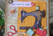 Cards: Sew/Quilt / Handmade cards featuring sewing machines or sewing/quilting tools. Also -- ideas for card sentiments for those who love sewing or quilting.