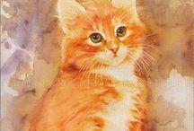 Kočky kolem nás / Všechno, co má něco společného s kočičkama - obrazy, obrázky, kresby,figurky,mozajky, deky, polštářky.....