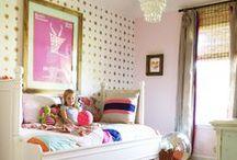 girl's pink, green + gold bedroom