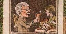 Ilustrații cu tătici și bunici cititori! / Unele dintre ilustrațiile noastre preferate cu tătici și bunici cititori!