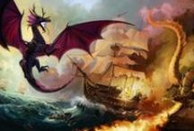 His Majesty's Dragons / Temeraire is a series books written by Naomi Novik. The books are set in the napoleonic wars, with dragons used as the different nations aerial forces.  I hugely recommend reading these books!