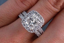 """Weddings! / Cushion cut, halo, 4ct. moissanite """"diamond"""" on a meteorite band = dream come true. / by Aubrie D"""