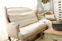 French Farmhouse / European linen, grain sack, worn wood, ironstone and rustic finishes.  Simple, honest design.