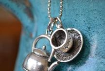 Jewelry / silver, garnets, pearls, and tea-themed jewelry