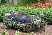 GOTTA LUV GREEN FURNITURE! / growing green things in a green way   flower bed.. chair bed.. etc. clever uses for planting ideas