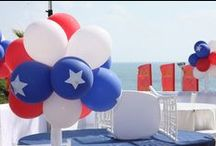 4th of July Balloon Decorations / Red, white and blue balloons, whether mylar or latex, are the ideal material for patriotic balloon arches, columns, clouds and sculptures. Decorate your next Independence Day celebration with our ideas.