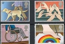 """Disability Representation on Postage Stamps / Postage stamps, their cancellation marks and First Day Covers (FDC) form a collection of artwork and propaganda that is understudied. Here, for stamp collectors and historians of disability, is an introduction to the philatelic theme """"Disability Representation"""".  The editors of this site invite volunteers to submit image descriptions."""